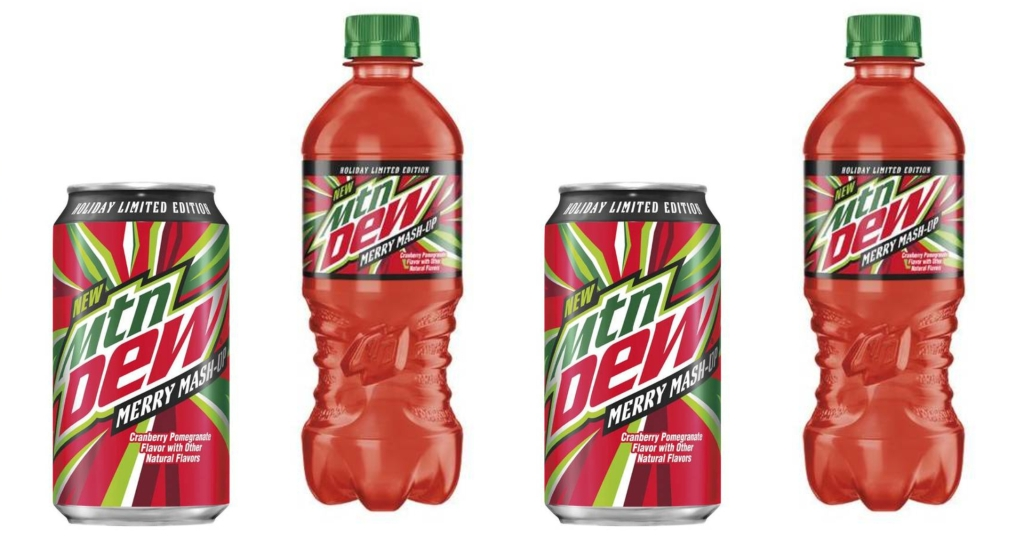 Mountain Dew Merry Mashup in cans and bottles