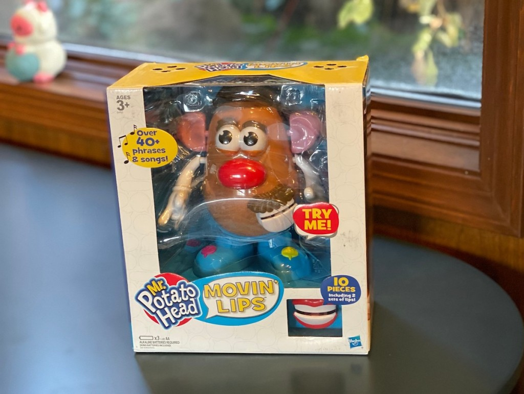 mr potato head moving lips in new box on table