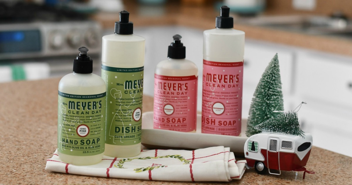 Mrs. Meyer's cleaning supplies set up by christmas decor