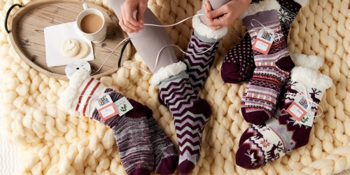 MUK LUKS Jojoba Infused Faux Shearling Cabin Socks 5-Pair Set Only $23.44 Shipped at QVC