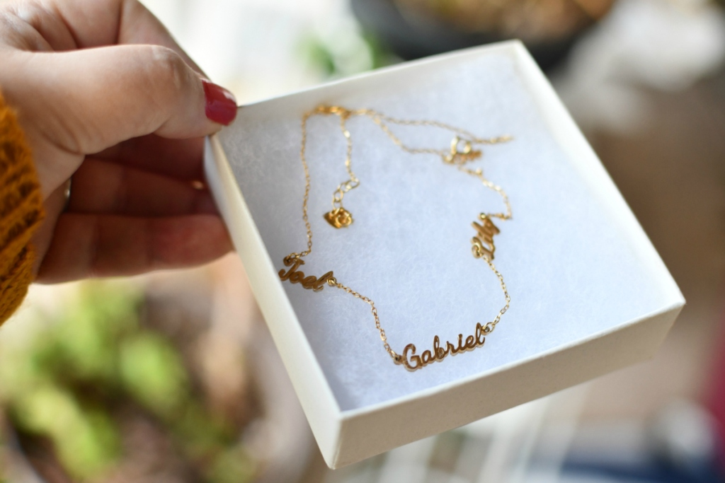 name necklace in gift box