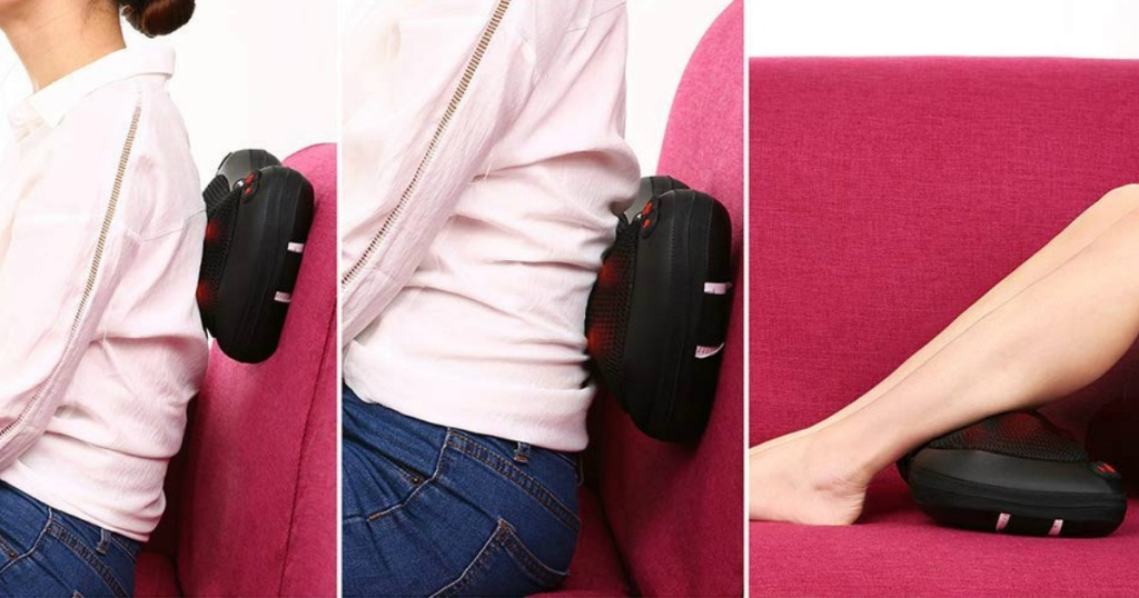 lady massager her back with a back massager
