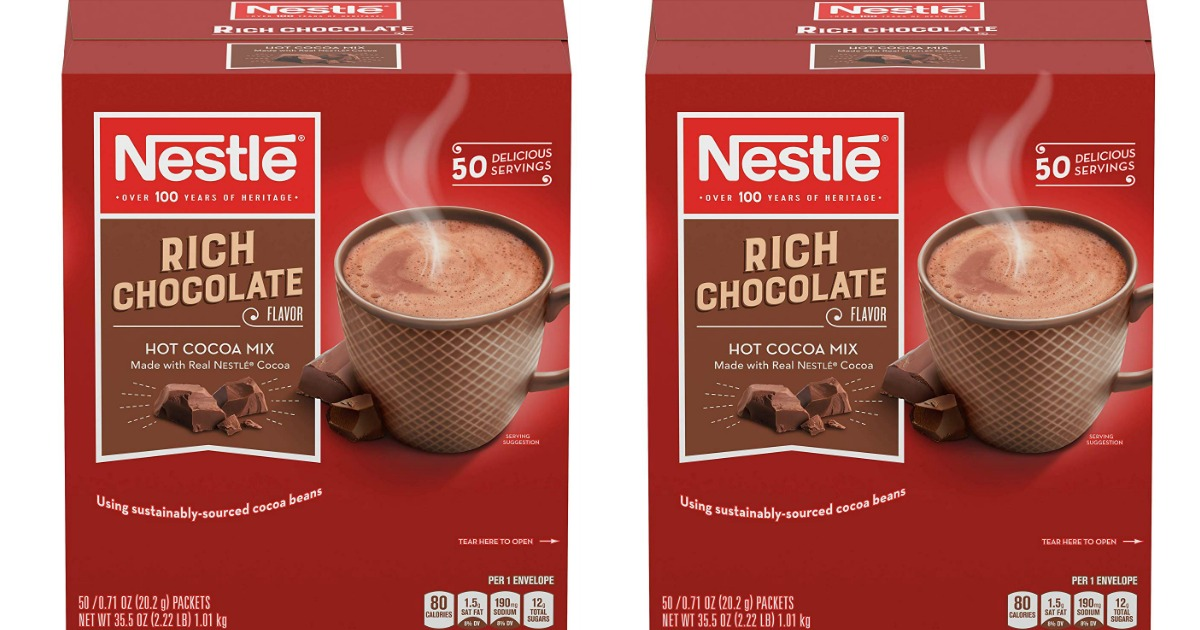 two boxes of packets with hot chocolate