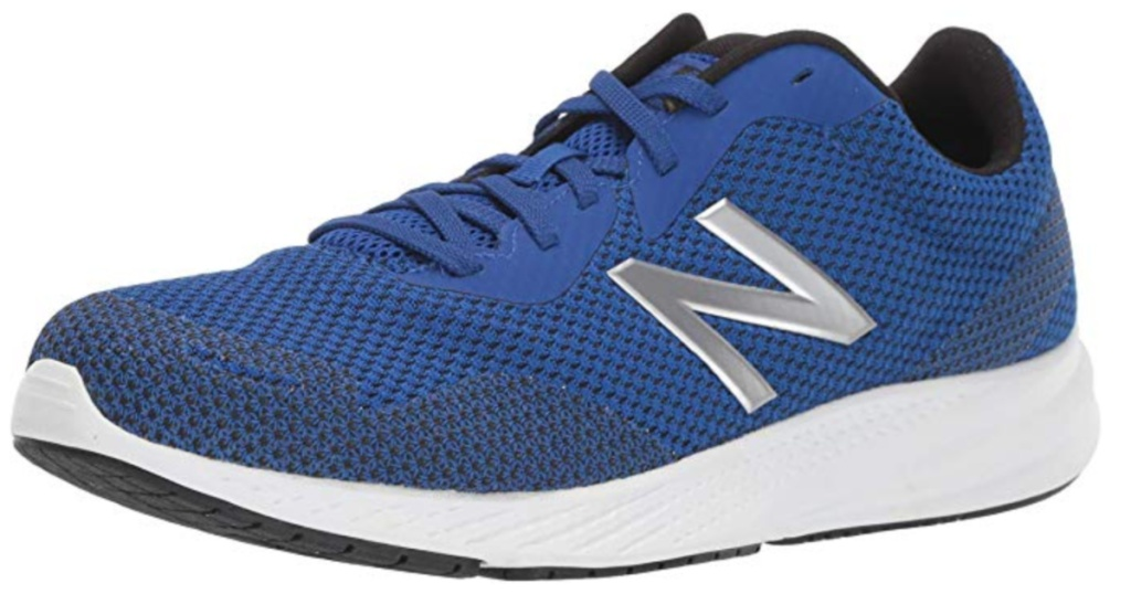 blue and grey new balance shoes with white soles