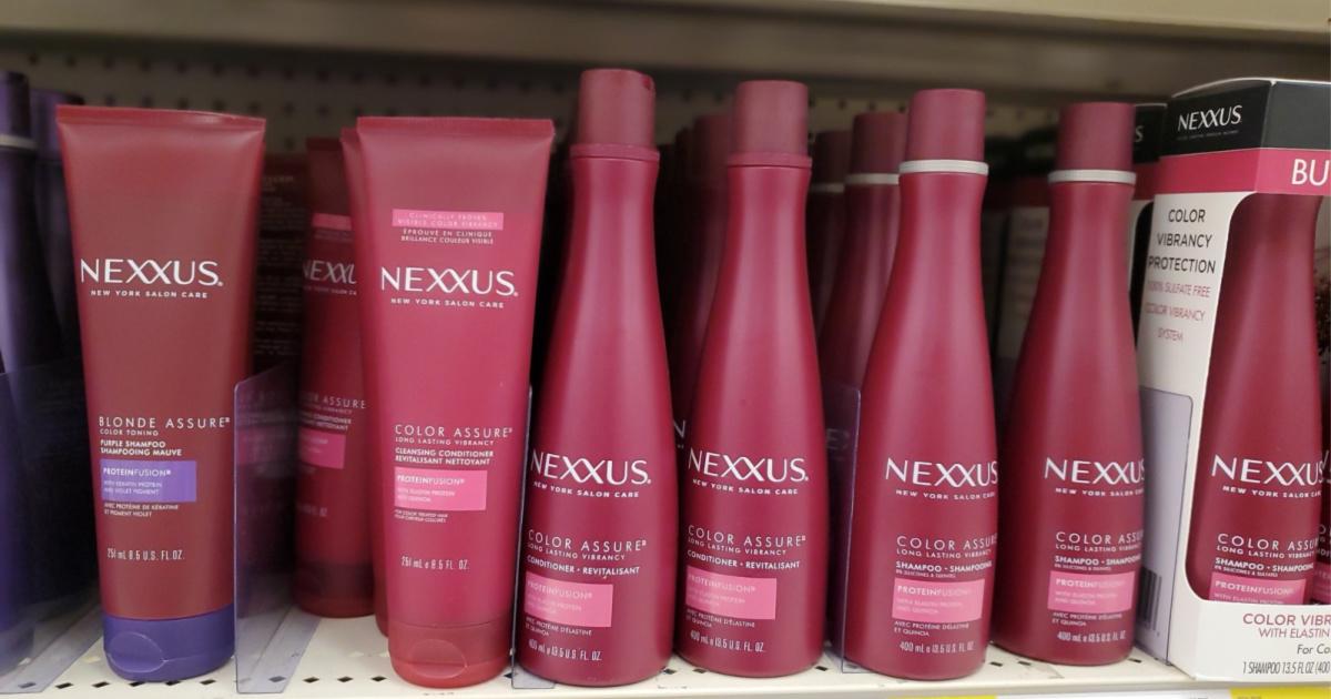 bottles of nexxus shampoo on shelf at target