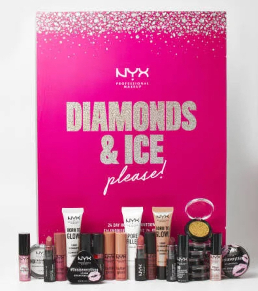 nyx pink beauty advent calendar with products displayed in front of it