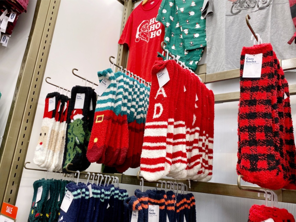 old navy cozy socks hanging in store