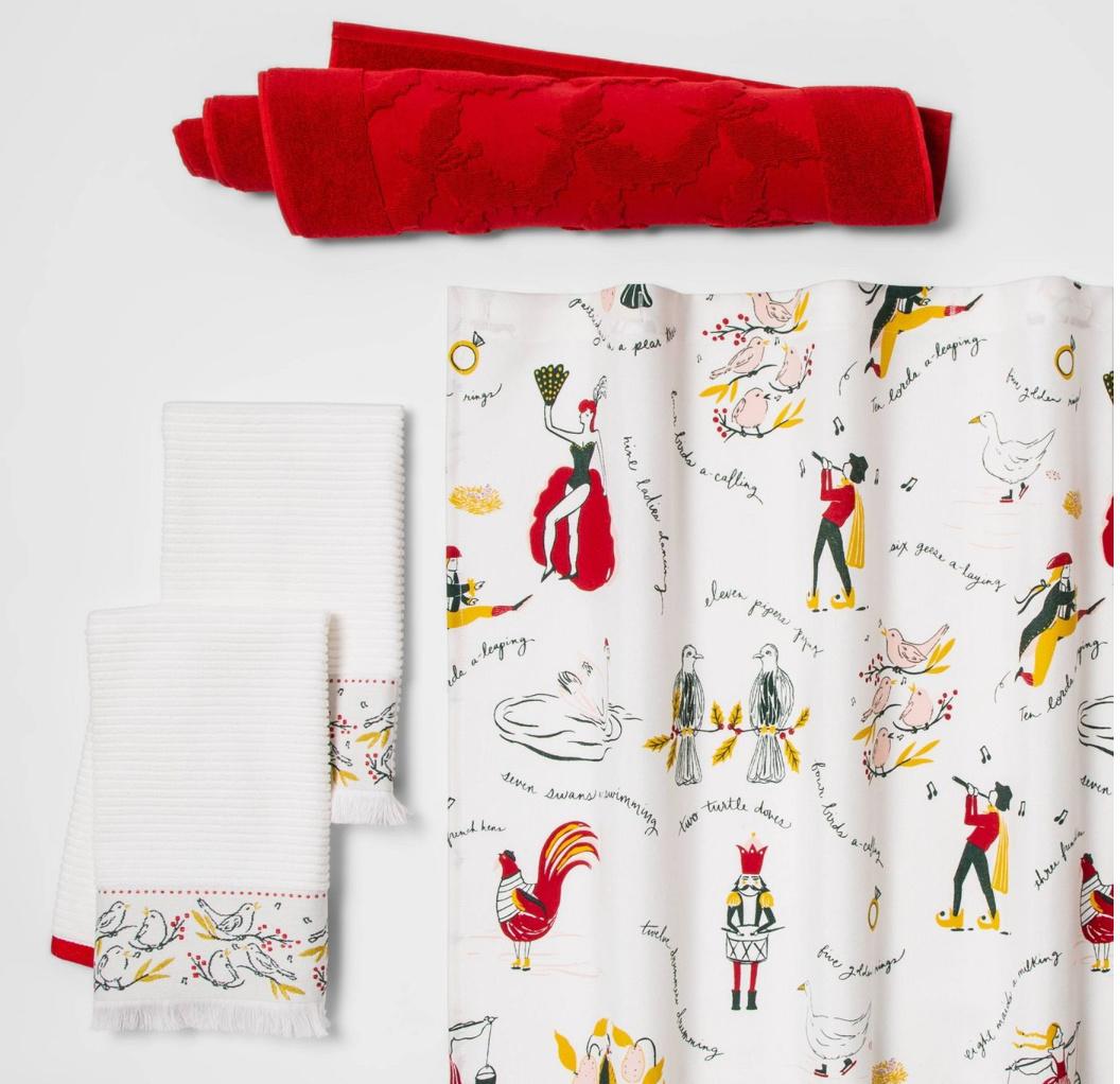 christmas towels, curtain, bath rug