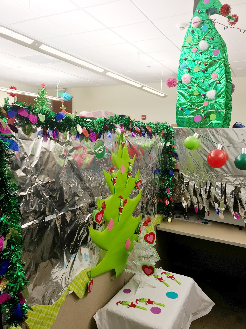 Office decorated with Whoville theme
