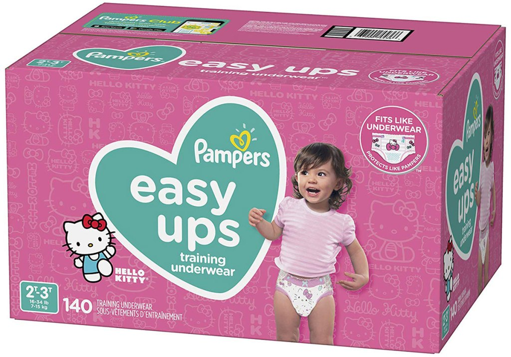 Pampers Easy Ups Pull On Disposable Potty Training Underwear for Girls, Size 4 (2T-3T) 140-Count