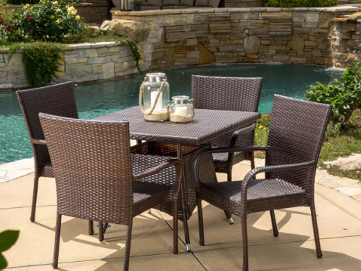 Christopher Knight Wesley 5pc Wicker Patio Dining Set