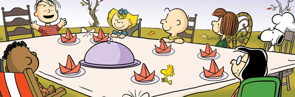 The Peanuts gang at Thanksgiving dinner