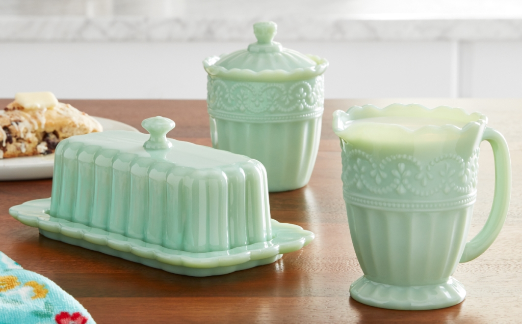 The Pioneer Woman butter dish, sugar bowl, and creamer