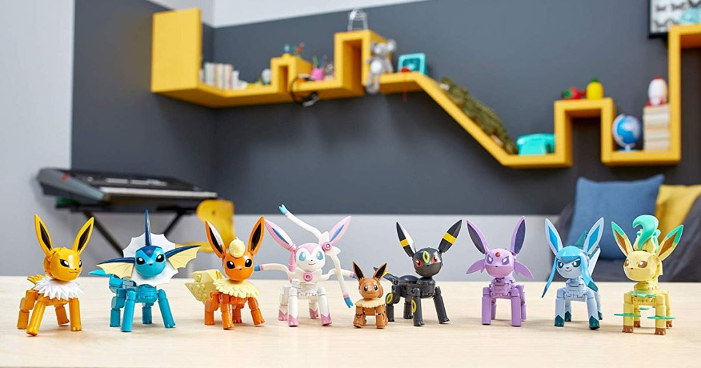 set up of the game Mega Construx Pokemon Every Eevee Evolution! Pack