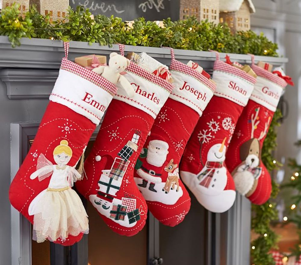 Christmas Stocking over mantel from Pottery barn