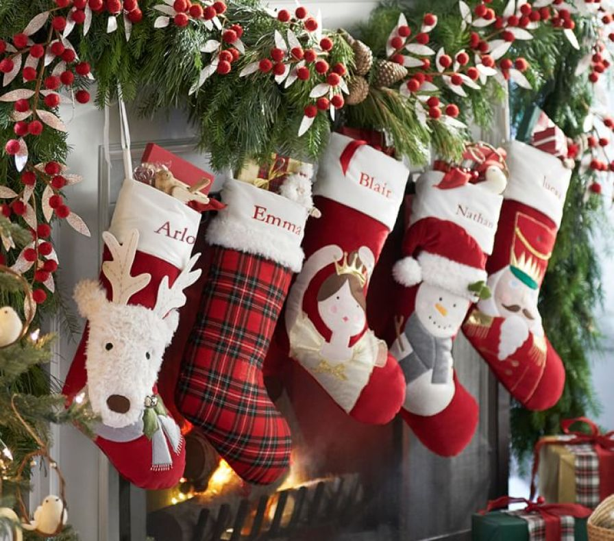 Pottery Barn Kids Solid Red Quilted Stocking: Pottery Barn Kids Personalized Christmas Stockings As Low