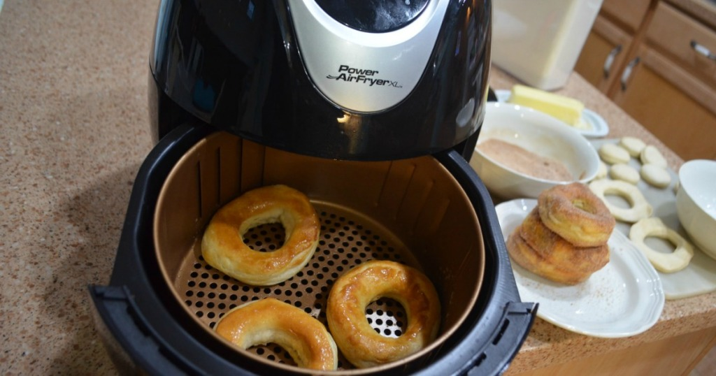 Power Air Fryer cooking homemade donuts