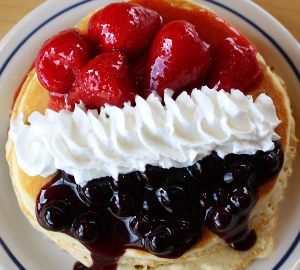 Red, White, and Blueberry pancakes