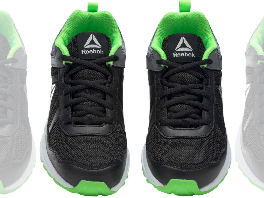 kids shoes in green and black