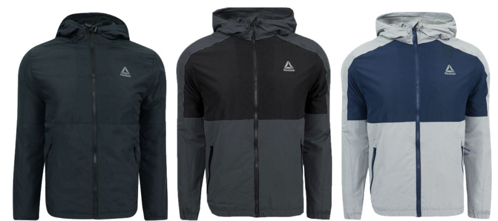 reebok men's fleece lined windbreaker jacket