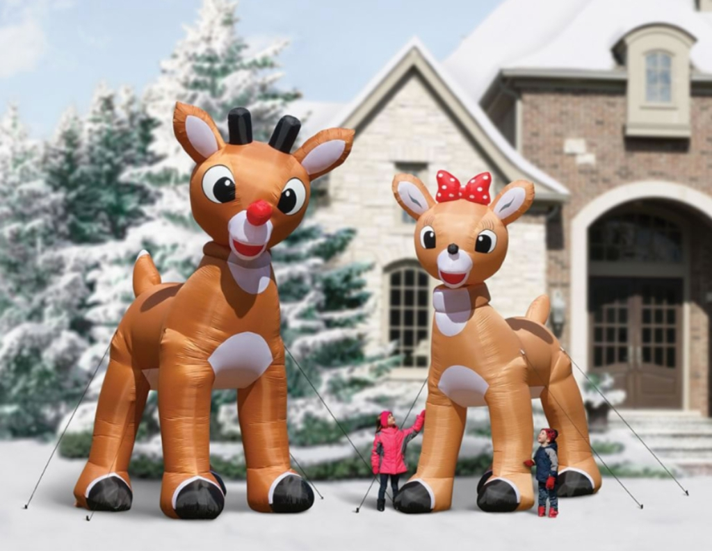Rudolph and Clarice giant inflatable reindeer