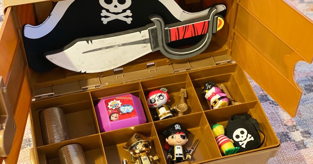 ryans world toy chest with pirate toys inside