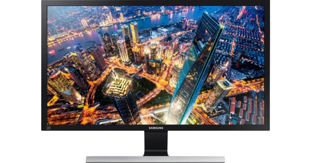 samsung monitor with image of city on screen