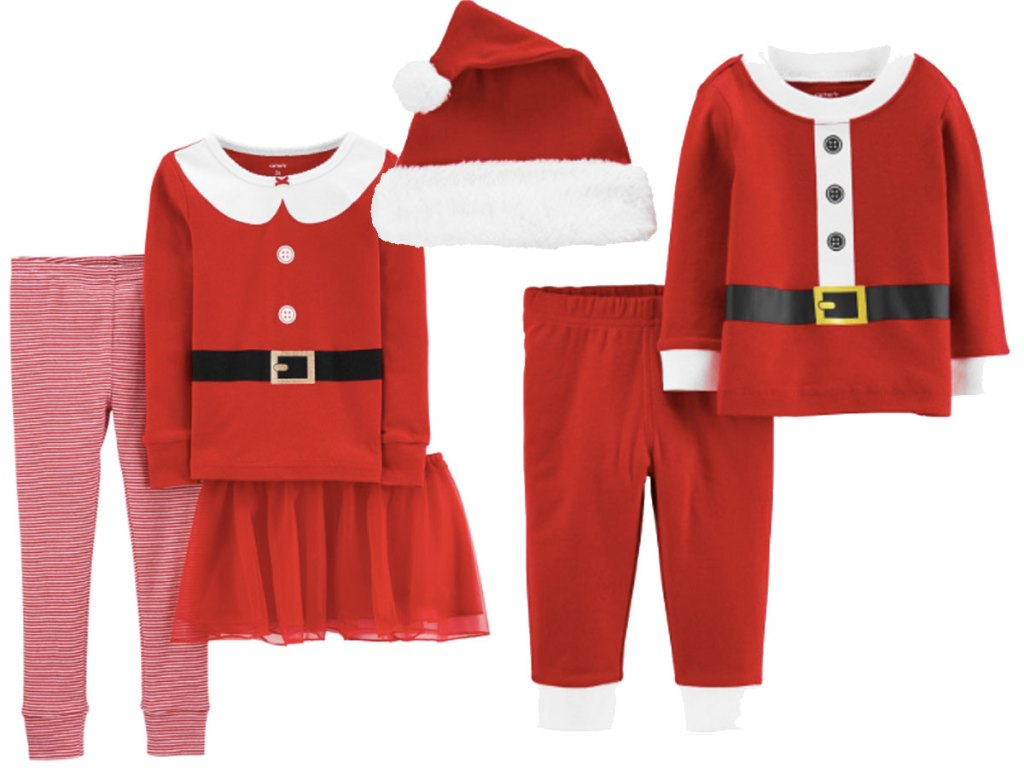 3-Piece Christmas Santa Suit Snug Fit Cotton PJs stock image