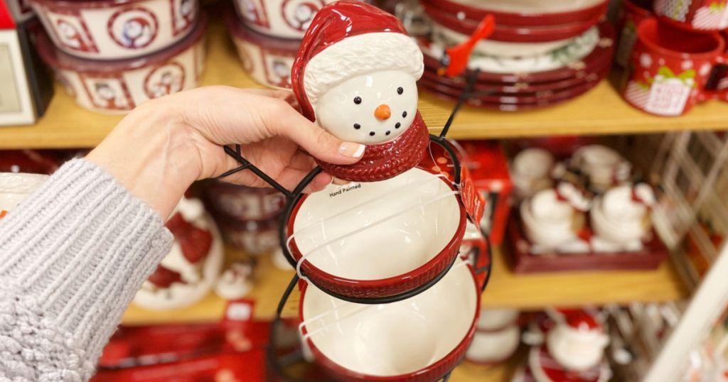 snowman holiday decor bowls