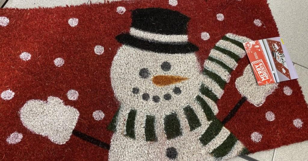 snowman coir welcome mat