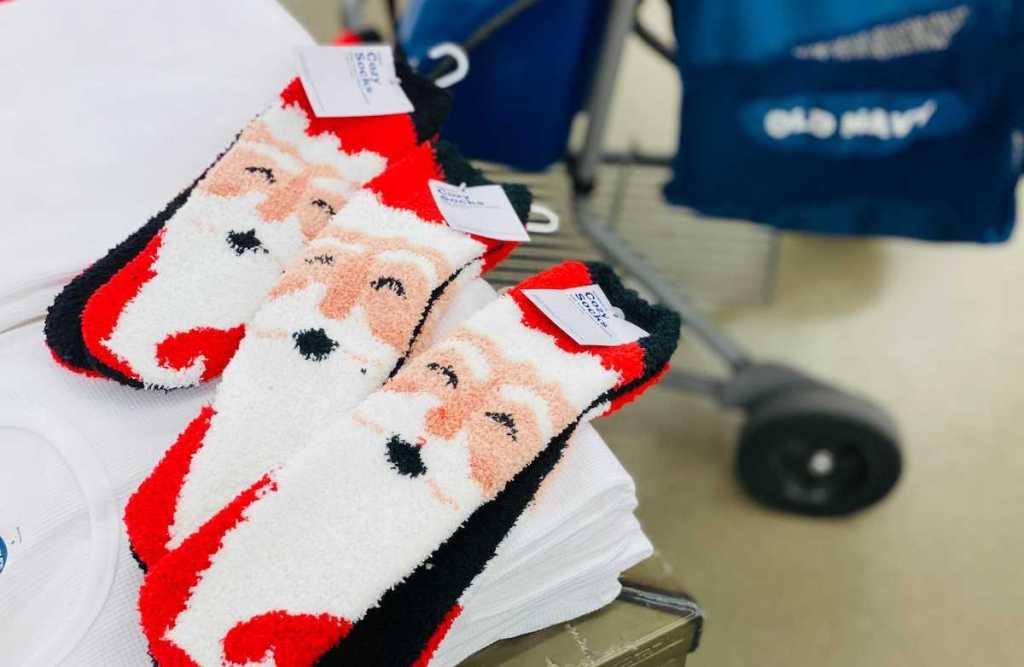 three pairs of cozy santa socks