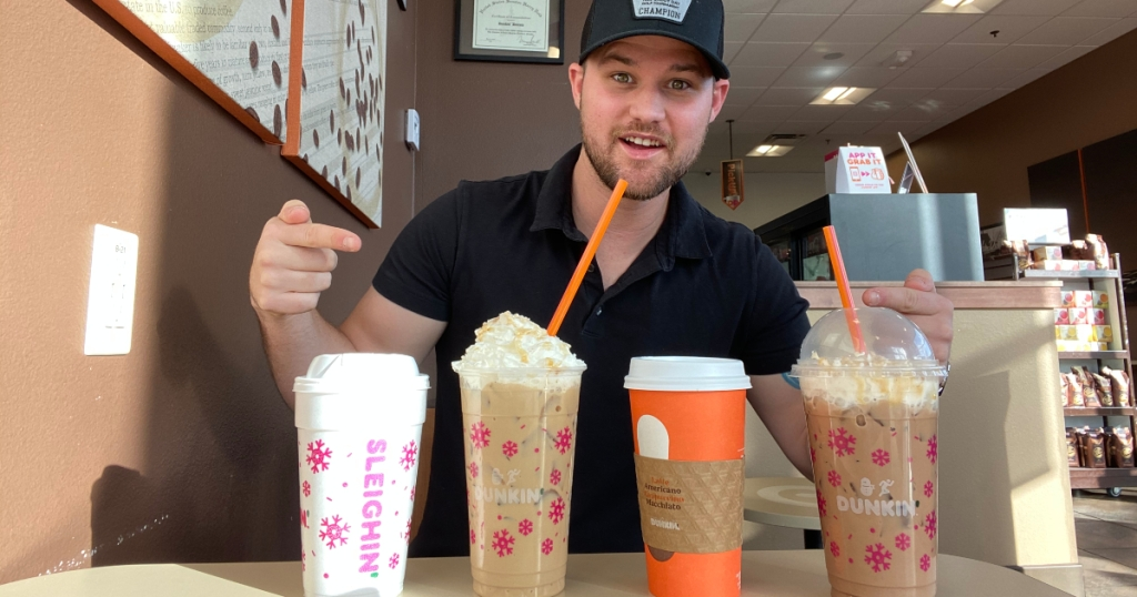 Stetson with 4 Dunkin' holiday drinks