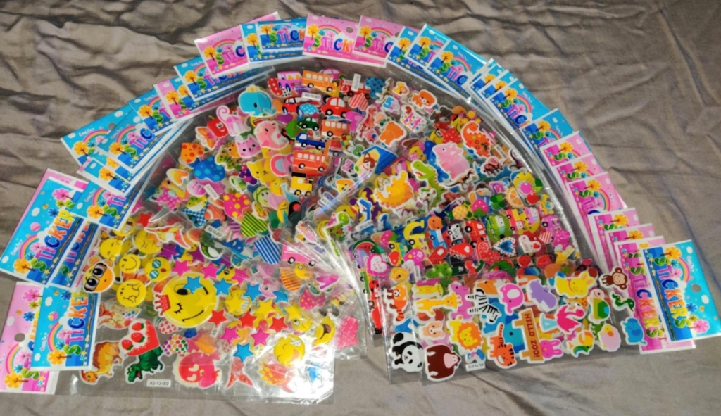 pack of colorful stickers on sheet