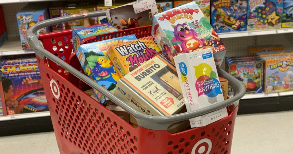 board games in a shopping cart at target