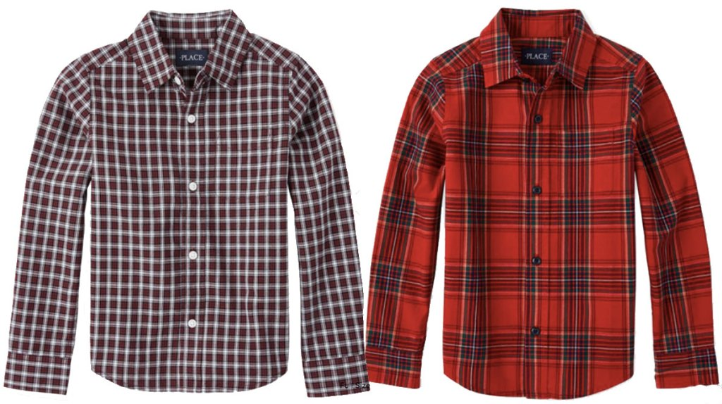 the children's place boys button down shirts