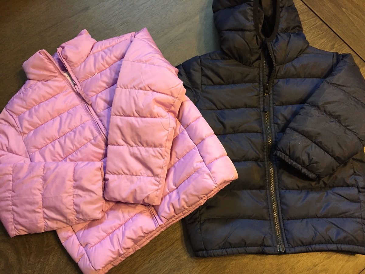 pink and black puffer jackets