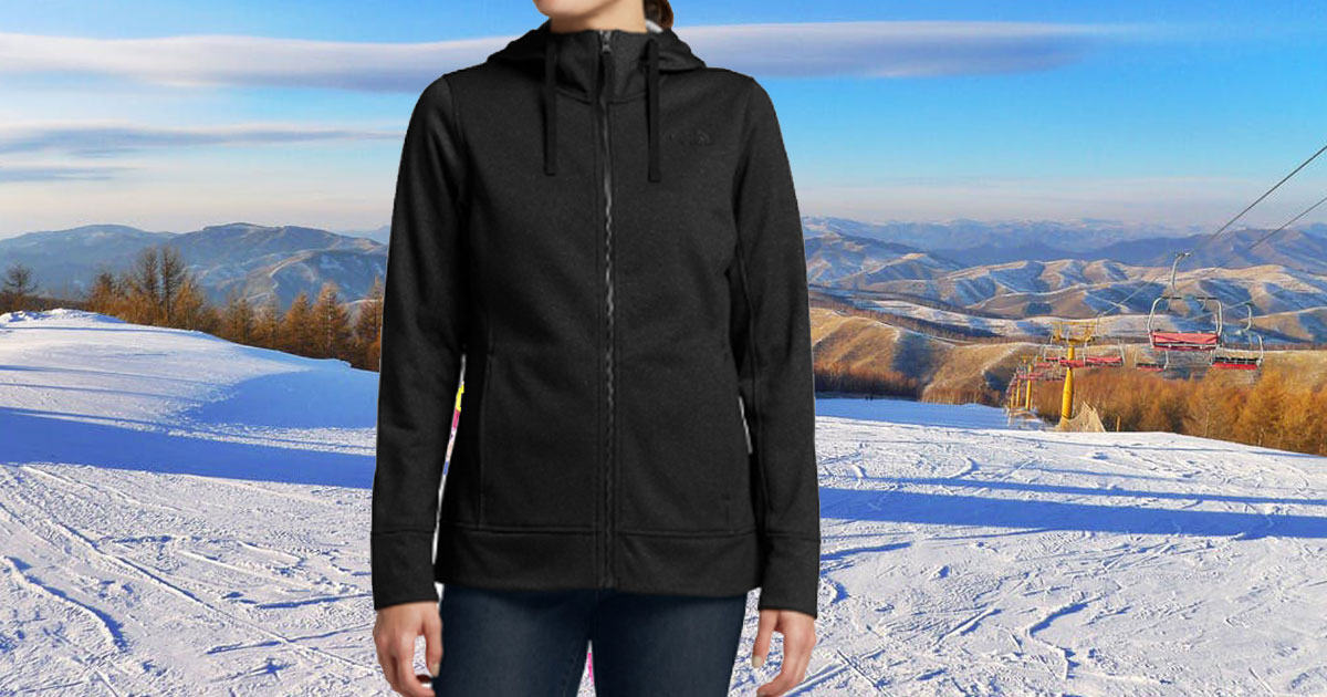 dicks sporting good the north face women's mattea jacket model wearing on snowy slope