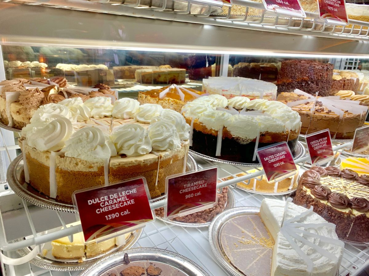 The Cheescake Factory cheesecakes displayed in case