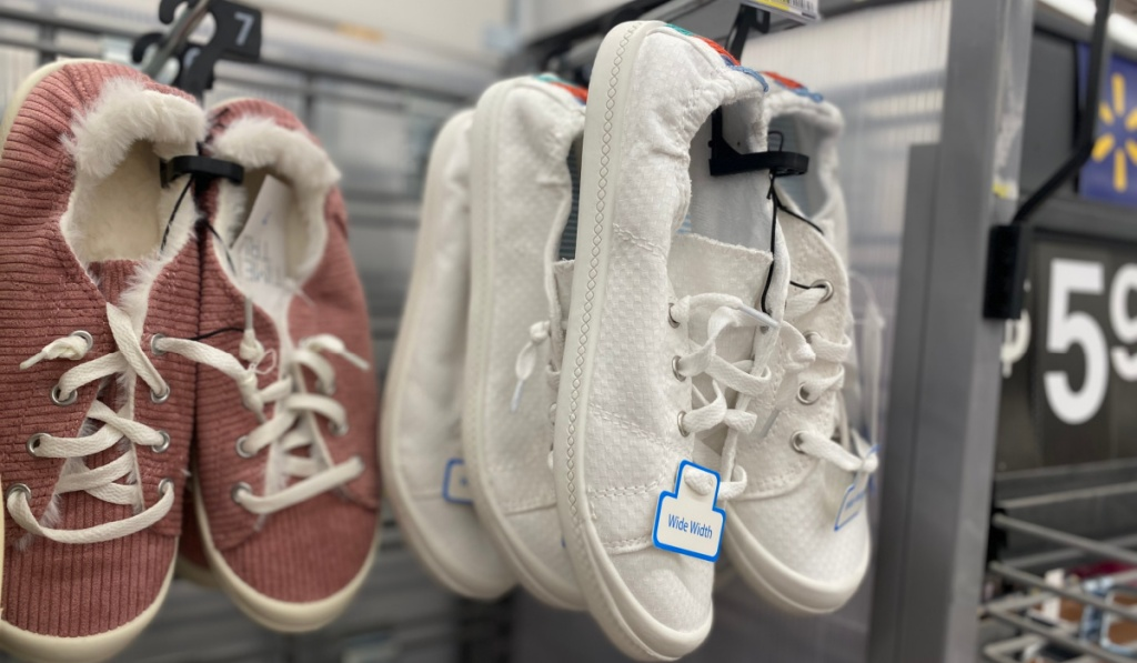 time and tru shoes on display at walmart