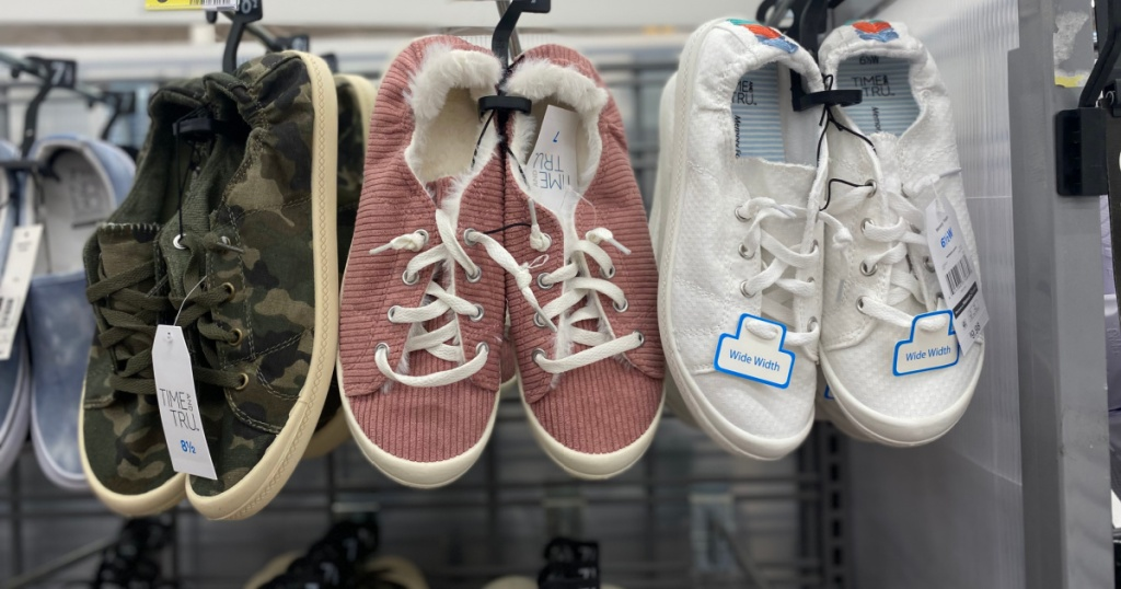 time and tru sneakers on display
