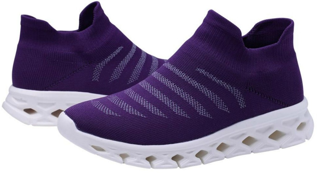 pair of purple shoes