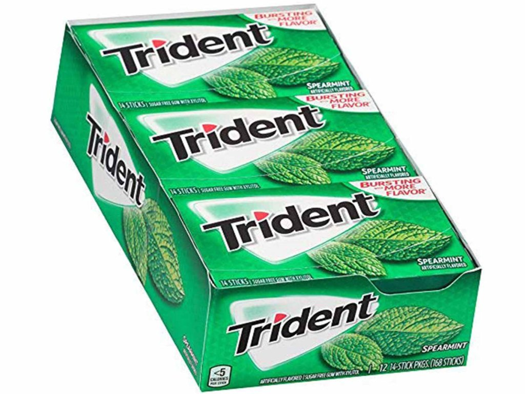 12 Packs of Trident Spearmint Flavor Sugar-Free Gum