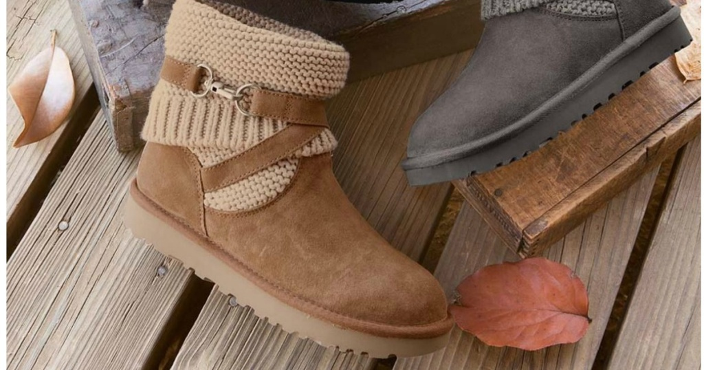 ugg brown and grey booties laying on deck with leaves in background