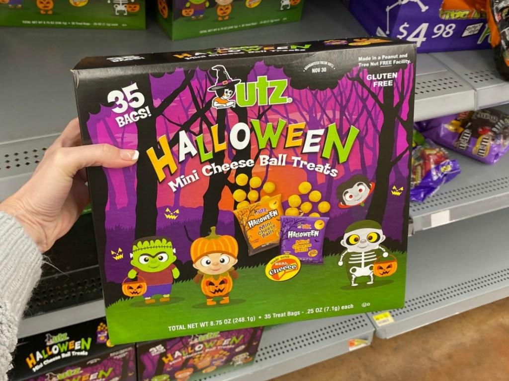 UTZ Halloween Snacks in package in-hand in store