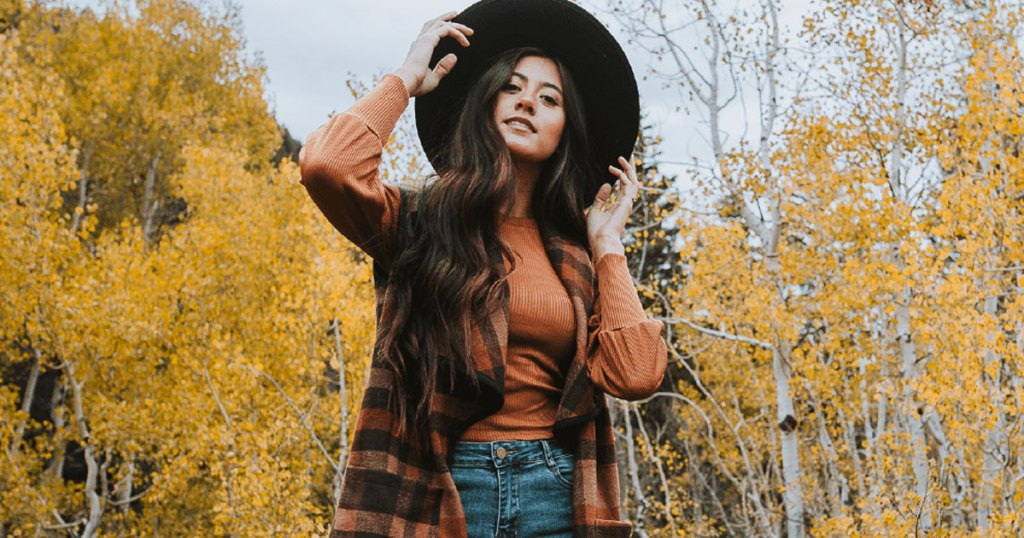 cents of style rue plaid vest in fall scene