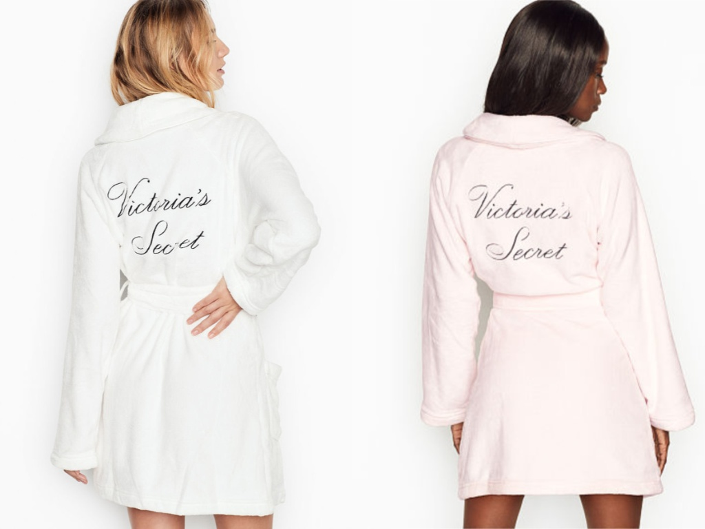 women modeling white and pink robes