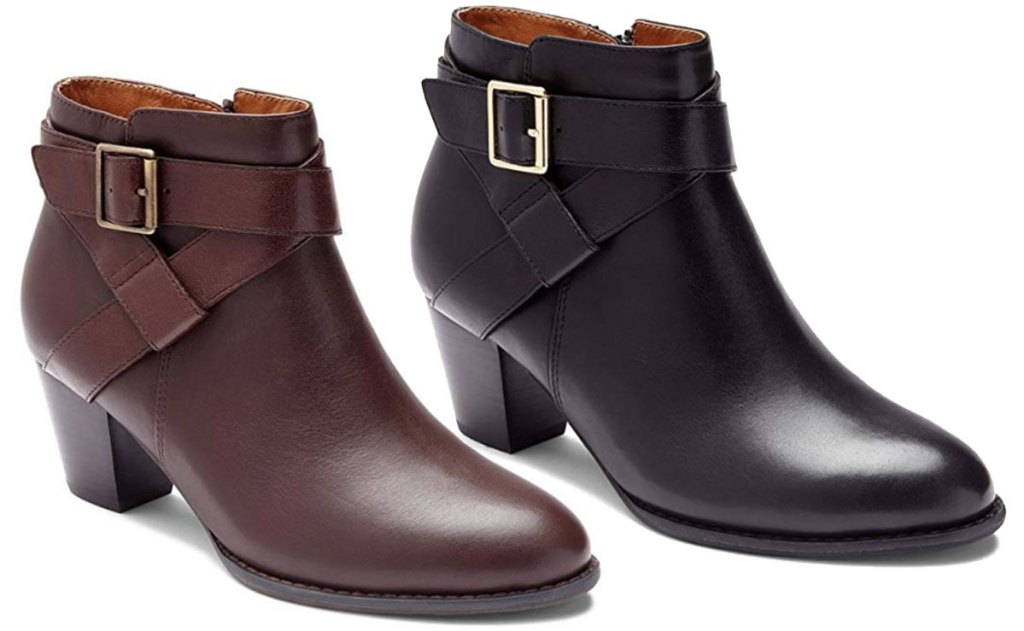 stock image of vionic trinity leather booties