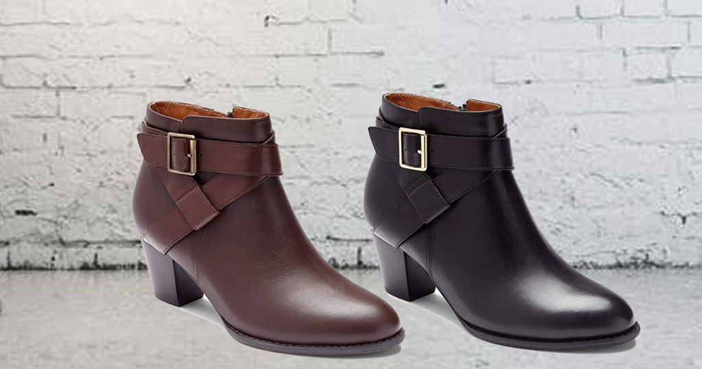 zulily trinity booties in leather on a floor