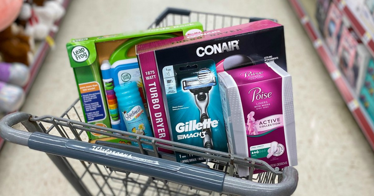 leapfrog, skintimate, conair, gillette and poise products at walgreens