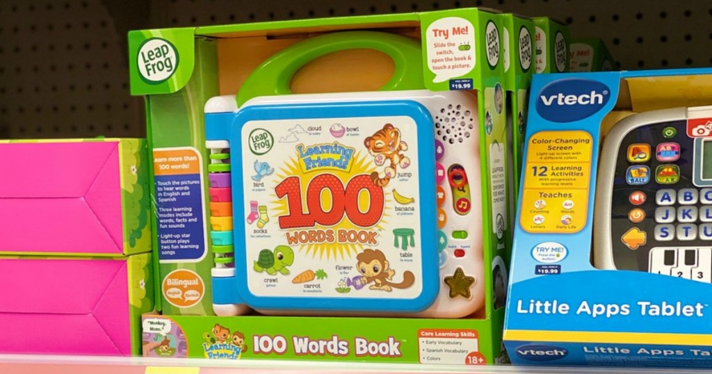 leapfrog 100 words book toy on a shelf in a store